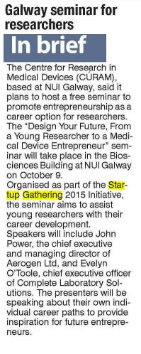 The Examiner features article on seminars for researchers that will be run by CÚRAM in Galway as part of Startup Gathering. Career Options, Feature Article, Research, September, How To Plan, Search, Career Choices, Science Inquiry