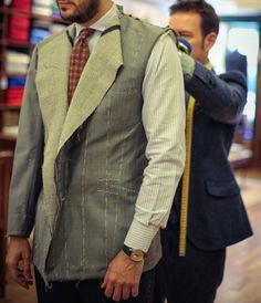 http://chicerman.com  thebespokedudes:  First fitting at @joaquinfernandezprats of an 85% wool 15% mohair fabric by @drapersitaly. Note that the edges of the jacket (lapels bottom) have not been worked yet. Different ways of conceiving the creation of a masterpiece #thebespokedudes #sastrerialanga #bespoke #spanishjacket #research (presso Sastreria Langa)  #menshoes