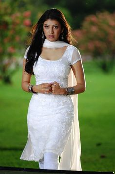 Kajal in white chudidar dress Indian Fashion Dresses, Dress Indian Style, Indian Outfits, Indian Clothes, Dress Fashion, Women's Fashion, Sexy White Dress, Girls White Dress, Churidar Designs