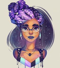 Really into lavender  goddess braids and stars atm so I put them all together :P #art #digitalart #portrait #photoshop #goddessbraids #updo #stars by gdbee