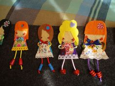 Muñequitas de fieltro en broche  by SIPORFIELTRO, via Flickr