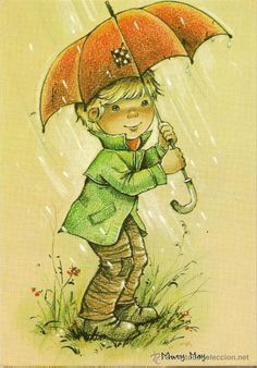 Bonita postal: Niño con paraguas. Serie Mary May. nº 521/1. Deposito legal año 1982 (Postales - Dibujos y Caricaturas)