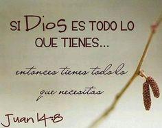 Dios es todo lo que tengo...y con Él no me falta nada...