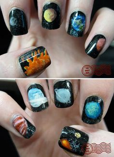 Pin for Later: Cool Manis For the Ultranerd Solar System Photo courtesy of The Daily Nail Navy Nail Polish, Cute Nail Polish, Cute Nails, Pretty Nails, Hair And Nails, My Nails, Finger, Daily Nail, Galaxy Nails