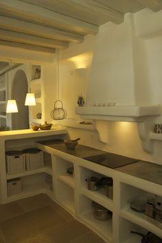 Built kitchen and cupboards. Built kitchen and cupboards. Rustic Kitchen, Country Kitchen, Kitchen Decor, Küchen Design, House Design, Greek House, Concrete Kitchen, Tadelakt, Cuisines Design