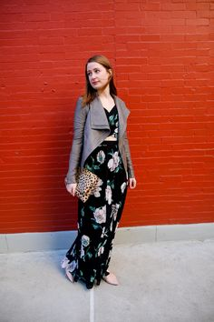 Floral Maxi Dress and Leather Jacket-Cheetah Clutch-Sequins & Strawberries