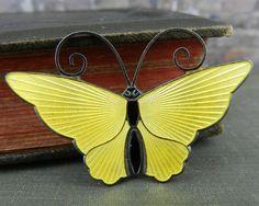 David Andersen Norway Sterling Silver Yellow Enamel Butterfly Pin / Brooch…