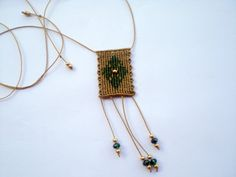 Macrame necklace. Macrame cross. Christmas necklace. by asmina