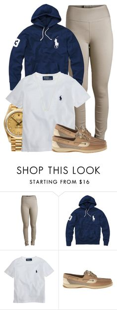 """Untitled #826"" by trinsowavy ❤ liked on Polyvore featuring Pieces, Polo Ralph Lauren, Rolex, Ralph Lauren, Sperry and Wanderlust + Co"