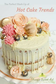 Hot cake trends mash-up cake. Semi-naked, drip cake with buttercream flowers and yummy treats Buttercream cakes, buttercream flowers, macarons, via Cake Recipes, Dessert Recipes, Desserts, Drippy Cakes, Buttercream Decorating, Girly Cakes, Cake Decorating Tutorials, Decorating Ideas, Cake Trends