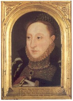 This unusual portrait of Elizabeth was painted in 1565, making her 32 years old. The entire portrait including the frame is from one block of wood.  This portrait became known in 1994 when it was offered for sale. It depicts the Queen with a jeweled caul which was Italian fashion at the time. Unknown artist but painted in England.