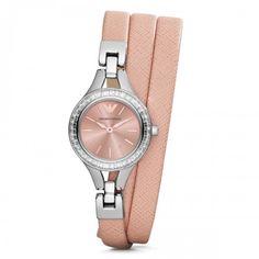 Emporio Armani Women's Classic AR7364 Peach Leather Watch - WatchMonde