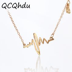 Simple Wave Heart Necklace Chic ECG Heartbeat Gold Color Pendant Charm Lightning Necklace for Women Vintage Jewelry Accessories  Price: 0.10 USD