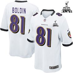Baltimore Ravens http://#81 Anquan Boldin NIKE White Color With Super Bowl Patch Mens Game NFL Jersey$79.99