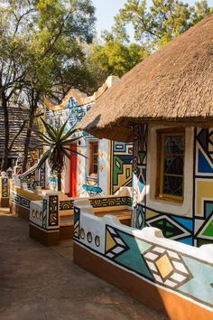 Photo about Village in ethnic Ndebele painting style. Image of centre, vintage, africa - 69671128 Africa Art, East Africa, North Africa, African Culture, African History, African Logo, Tunisia Hotels, African House, Africa Fashion