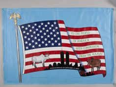 This painted banner commemorates the intended condolence gift of 14 cows by Masai villagers in Kenya to the American people. Cows are sacred to the Masai, who wished to demonstrate their feelings of respect and compassion for those whose lives had been changed by the violence of terrorism.     (Collection of 9/11 Memorial Museum; Gift of Wilson Kimeli Naiyomah and the Masai people of Kenya)