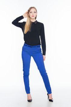 Czarna bluzka z dżetami na kołnierzyku ABK0011 www.fajne-sukienki.pl Skinny Jeans, Pants, Fashion, Trouser Pants, Moda, Fashion Styles, Women's Pants, Women Pants, Fashion Illustrations