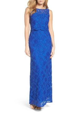 Free shipping and returns on Ellen Tracy Popover Column Gown at Nordstrom.com. An extra tier of illusion lace scalloped in eyelash fringe adds to the figure-flattering dimension of this vivid gown.
