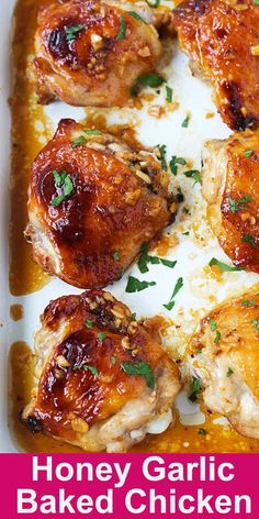 Honey Garlic Baked Chicken – juicy, moist and delicious baked chicken thighs. 5 … Honey Garlic Baked Chicken – juicy, moist and delicious baked chicken thighs. Grilled Chicken Recipes, Best Chicken Recipes, Best Baked Chicken Recipe Ever, Chicken Recipes With Honey, Chicken Thigh Recipes Easy, Chicken Thigh Meals, Pinterest Chicken Recipes, Chicken Thigh Casserole, Beef Recipes