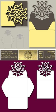 Pineapple Lace Card & Envelope. SVG eps DXF PNG Cut by ScrapCobra