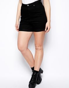 Enlarge ASOS CURVE Exclusive Denim Short With High Waist