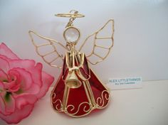 red glass angel blowing horn hanging by ALEXLITTLETHINGS on Etsy