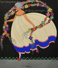 Martha Romme 1919 'Floreal - April' Les douze mois de l'année aquarelle (watercolor)