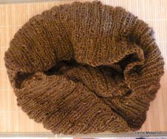 Handknitted cowl in chocolate brown woolmix by LynnesEbooks on Etsy