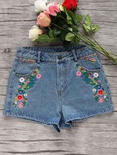 Denim Floral Embroidery Shorts
