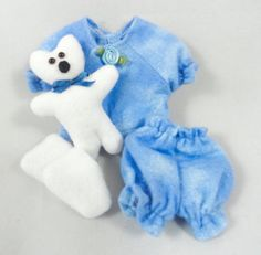 Doll Clothes: Blue Pajamas Teddy Bear Slippers by JoellesDolls