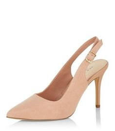 Cream Comfort Pointed Sling Back Heels