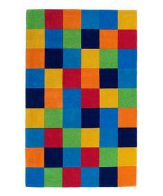 Look what I found on #zulily! Rainbow Color Block Kolorful Kidz Wool Rug #zulilyfinds