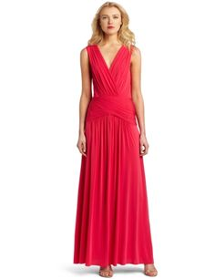 V Neck Draped Gown With Back Cutout