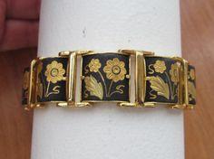 Damascene Japanese style flower panel link bracelet by lolatrail