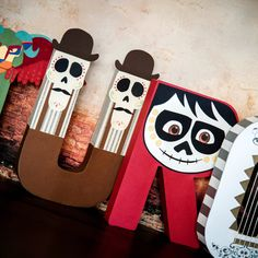 Pixar Coco Party / Decor / Paper Mache Letters - Guitar / Miguel / Imelda / Hector / Pepita / Oscar and Felipe / Decorative