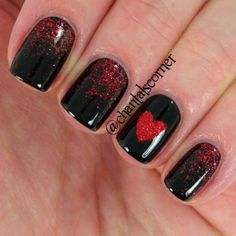 Valentine nail designs, red nail designs, valentine nail art, nails f Fancy Nails, Trendy Nails, Love Nails, My Nails, Style Nails, Valentine's Day Nail Designs, Nails Design, Dark Nail Designs, Salon Design