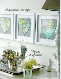 Repurposing your maps. Cut in heart shapes and frame...for college students who love to travel or studied abroad, this is a great way to display those places close to their heart.
