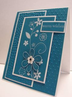 handmade card ... monochromatic blue ... white lines define the shape ... flowers and flourishes ... lovely!