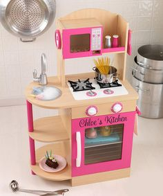 KidKraft  Natural Wooden Personalized Kitchen     compact size, no fridge