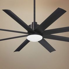 From Minka Aire, this coal black outdoor LED ceiling fan offers a sleek modern look with a hint of industrial design. Eight coal finish molded ABS blades. Style # at Lamps Plus. Best Ceiling Fans, Outdoor Ceiling Fans, Ceiling Lamp, Ceiling Lights, Black Ceiling Fan, Fan Lamp, Dimmable Led Lights, Minka, Light Sensor