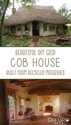 Builds Cozy Little Cob House for A farmer built this cozy little cob house using mostly reclaimed materials.A farmer built this cozy little cob house using mostly reclaimed materials. Cob Building, Building A House, Green Building, Earthship Home, Earthship Design, Mud House, Tiny House, Recycled House, Natural Homes