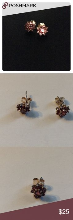"""Sterling Silver & Pink Tourmaline Flower Earrings 1/4"""" by 1/4""""; stud earrings with pink tourmaline and sterling silver. Complete with omega backs. Jewelry Earrings"""
