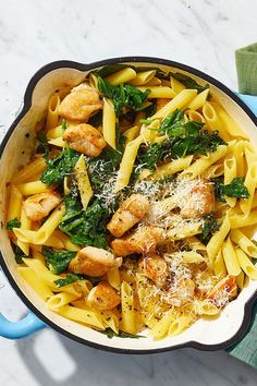 This quick and easy 25-minute skillet pasta recipe incorporates penne pasta, chicken, garlic, white wine, lemon, spinach and parmesan cheese to create the ultimate comfort food meets fall recipe. Whether you're making this Italian recipe as a cozy weeknight dinner or packing it for lunch the next day, it's a great choice for a fall recipe. #fallrecipes #comfortfood #pastarecipes #skilletpasta #chickenrecipes #weeknightdinner