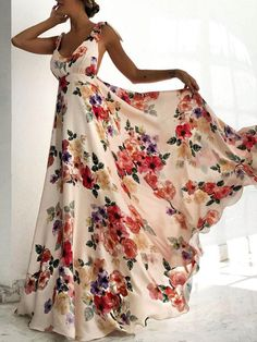 Floral Print Tied Shoulder Backless Maxi Dress