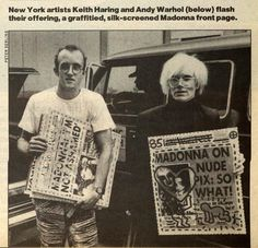Keith Haring and Andy Warhol with painting they made for Madonna's wedding to Sean Penn