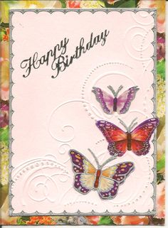 Butterflies on embossed background with wrapping paper border