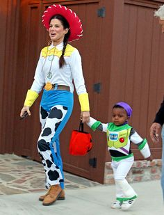Cutest 2012 Celebrity Halloween Costumes if you ask me: Sandra Bullock and Louis (Jessica Alba and family as the incredibles, close second!)