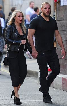 Colour co-ordinated couple: Chloe, 28, and James, 30, wore matching all-black outfits for ...