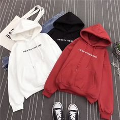2019 Winter Women Fashion Hoodie Solid Color Printed Letter Pullover With Velvet Loose Hoodie Stylish Hoodies, Comfy Hoodies, Sweatshirts, Winter Fashion Casual, Cute Comfy Outfits, Sweater Hoodie, Cute Hoodie, Aesthetic Clothes, Korean Fashion