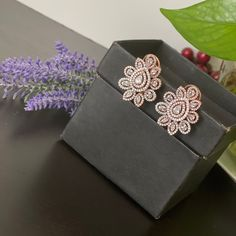 Designer AD rose gold two tome finished stud Earrings / CZ Statement earrings / Earrings/ Bollywood celebrity earring/ stud earrings Jhumki Earrings, Bridal Earrings, Stud Earrings, Indian Wedding Jewelry, Indian Jewelry, Tribal Jewelry, Beaded Jewelry, Pearl Jhumkas, Ear Chain